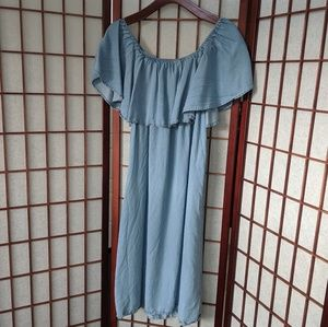 Sharagano Off Shoulder Chambray Tencel Dress
